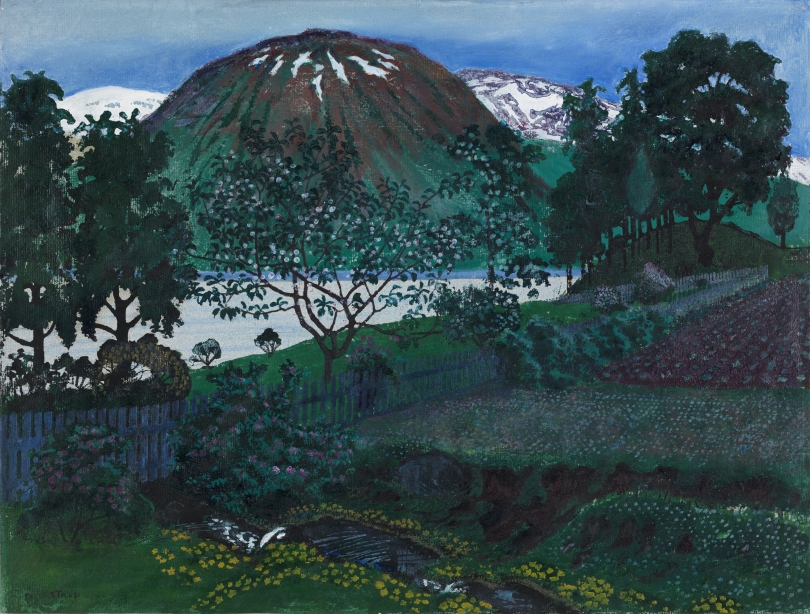 Nikolai Astrup, June, Night in the Garden, undated, colour woodcut with handcolouring, 31.2cm x 41.3cm, from the collections of the Nasjonalmuseet, Oslo. Photo: The National Museum of Art, Architecture and Design, Oslo / Børre Høstland