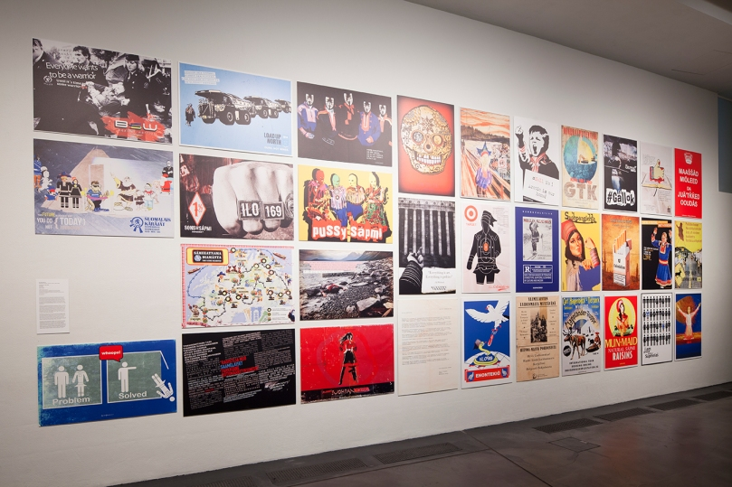 Installation view of Suohpanterror, Checkpoint n:o 169, 2015, a series of posters on display at the Museum of Contemporary Art Kiasma exhibition 'Demonstrating Minds: Disagreements in Contemporary Art', 2016. Photo: Finnish National Gallery / Pirje Mykkänen