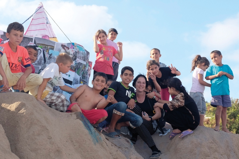 Artist Tanja Boukal at Melilla CETI camp with residents, 2015. Photo: © Tanja Boukal