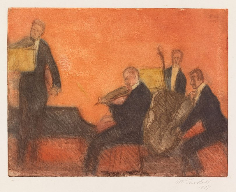 Magnus Enckell, Music, 1906, soft-ground etching, 33 x 42,5 cm Finnish National Gallery / Ateneum Art Museum Photo: Finnish National Gallery / Yehia Eweis