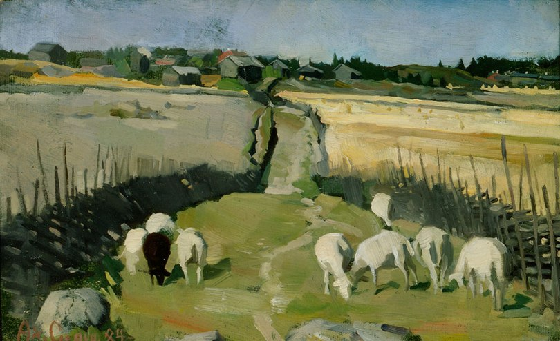 Akseli Gallen-Kallela's Landscape with sheep (1884, oil on canvas, 22cm x 34.5cm) is one of the paintings to be included in Hanne Mannerheimo's research – she is especially interested in its green and blue areas. Antell Collections, Finnish National Gallery / Ateneum Art Museum. Photo: Finnish National Gallery / Pirje Mykkänen.