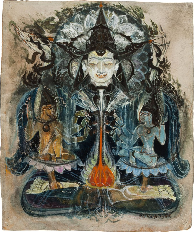 Ilona Harima, Buddha and Two Bodhisattvas, 1947 gouache, 24.5 x 20.5cm Finnish National Gallery / Ateneum Art Museum Photo: Finnish National Gallery / Hannu Pakarinen