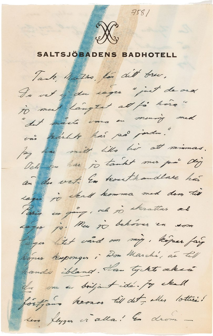 First page of Helene Schjerfbeck's letter to Martha Neiglick-Platonoff, Saltsjöbaden, Sweden 20 August 1944. Helene Schjerfbeck's letters to Martha Neiglick-Platonoff. Archive Collections, Finnish National Gallery Photo: Finnish National Gallery / Ainur Nasretdin