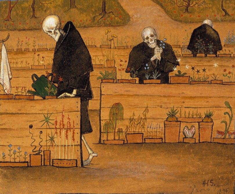 Hugo Simberg, Garden of Death 1896, watercolour and gouache on paper, mounted on etching paper, 15.8 x 17.5cm,Photo: Finnish National Gallery / Jouko Könönen