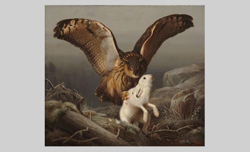 Ferdinand von Wright, An Eagle Owl Seizes a Hare, 1860 oil on canvas, 105cm x 119cm Finnish National Gallery / Ateneum Art Museum Photo: Finnish National Gallery / Hannu Aaltonen