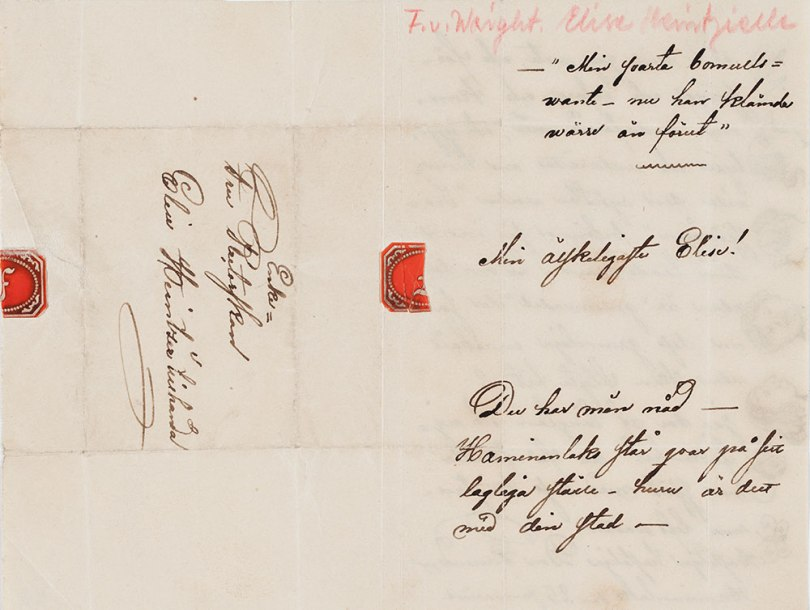 Ferdinand von Wright to Elise Heintzie, Haminalahti on 225 Jan, no year. Collection of Artists' Letters. Archive Collections, Finnish National Gallery Photo: Finnish National Gallery / Ainur Nasretdin