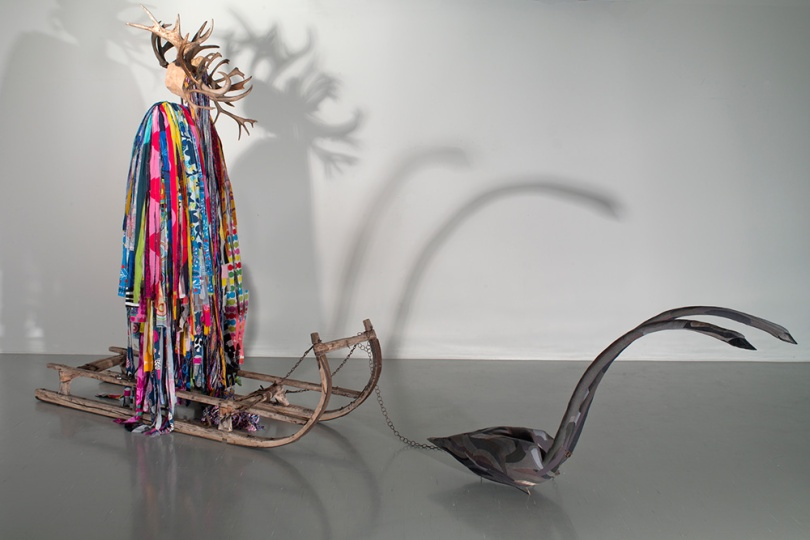Paavo Halonen, Shaman Drag, 2014, mixed media: sleigh, antlers, textile shreds, swan herald, 260cm x 80cm x 6cm Finnish National Gallery / Museum of Contemporary Art Kiasma Photo: Finnish National Gallery / Pirje Mykkänen