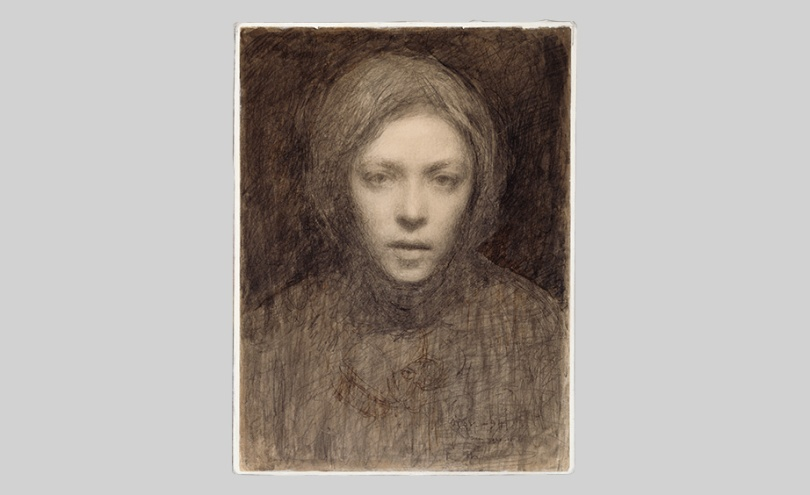 Ellen Thesleff, Self-Portrait, 1894–95, pencil and sepia ink on paper, 31.50cm x 23.50cm Finnish National Gallery / Ateneum Art Museum Photo: Finnish National Gallery / Hannu Aaltonen