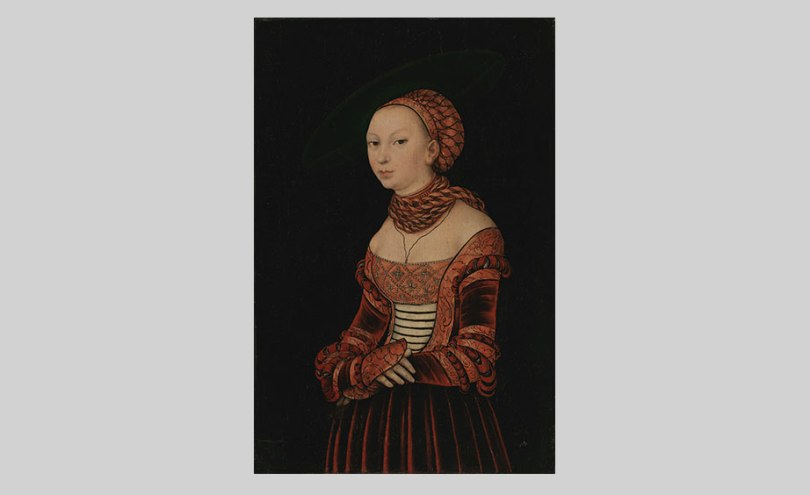 Lucas Cranach the Elder, Portrait of a Young Woman, 1525, oil on panel, 41cm x 27cm. O. W. Klinckowström Collection, Finnish National Gallery / Sinebrychoff Art Museum Photo: Finnish National Gallery / Hannu Aaltonen