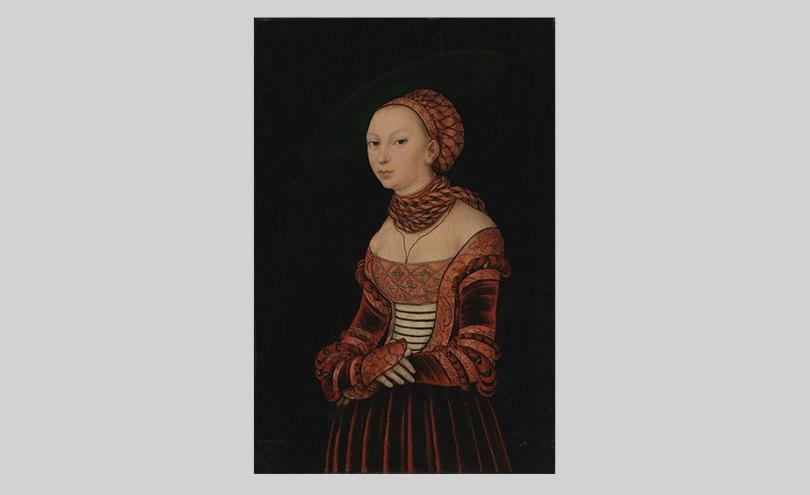 Lucas Cranach the Elder, Portrait of a Young Woman, 1525, oil on panel, 41cm x 27cm. O. W. Klinckowström Collection, Finnish National Gallery / Sinebrychoff Art Museum Photo: Finnish National Gallery / Hannu Aaltonen