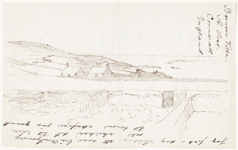Helene Schjerfbeck, Landscape from St Ives, Barnoon Villa, 1887, ink on paper, 11.5cm x 18cm- Friends of Ateneum Collection, Finnish National Gallery / Ateneum Art Museum Photo: Finnish National Gallery / Ainur Nasretdin