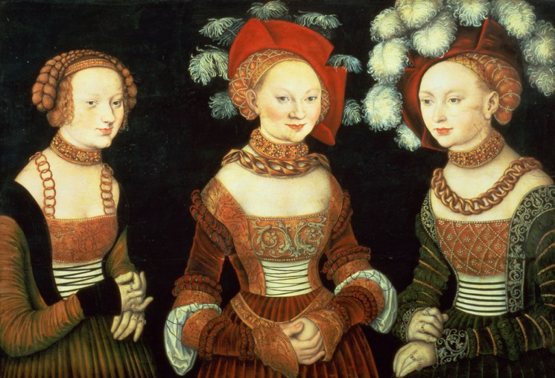 Lucas Cranach the Elder, Three Princesses of Saxony, Sibylla (1515–92), Emilia (1516–91) and Sidonia (1518–75), daughters of Duke Heinrich of Frommen, c. 1535, oil on panel, 62cm x 89cm. Kunsthistorisches Museum, Vienna Photo: Bridgeman Images