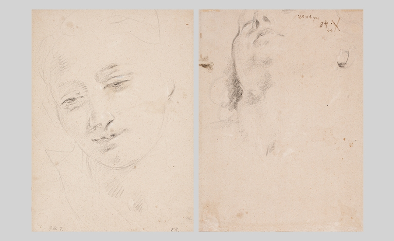 Giambattista Tiepolo, Study of a Female Head (recto) and Study of a Male Head (verso), c. 1730–31, white and black chalk on paper, 28.5cm x 21cm. Finnish National Gallery / Sinebrychoff Art Museum Photo: Finnish National Gallery / Jenni Nurminen